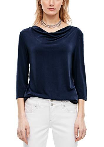s.Oliver Damen T-Shirt mit Wasserfall-Ausschnitt Dark Blue 46