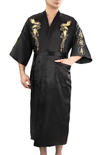 Bon amixyl - Albornoz para hombre, seda satinada, kimono, bordado de dragón, Yukata Hakma, vintage Negro Negro 3XL