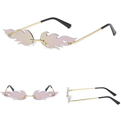 INTVN Creative Unisex Flamme Sonnenbrille Form Frauen ,Mode Vintage Punk-Stil Sonnenbrille Männer Randlos Welle Sonnenbrillen Grüne Linse