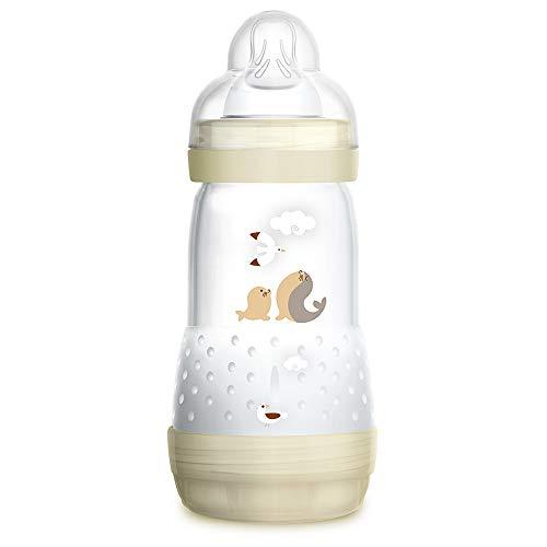 MAM Biberón Easy Start Anti-Colic A122, Biberón Anticólicos patentado con Tetina de Silicona SkinSoftTM ultra suave, 260ml, para Bebés a partir de 2 meses, Neutro, 1 unidad, Autoesterilizable en 3 min