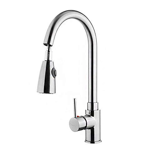 Aufun Wasserhahn Küche mit Ausziehbar Brause Modern Küchenarmatur Hochdruck 360° Drehbar Chrom Waschtischarmatur für Küche Waschtisch Bad Kaltes und Heißes Wasser, Typ A