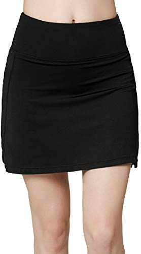 Women's Active Athletic Skirt Sports Golf Tennis Running Pockets Skort Black XL