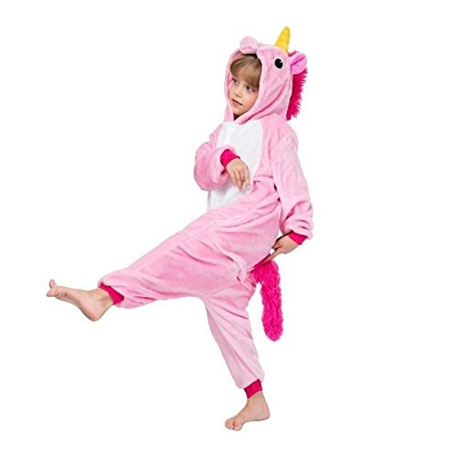 Einhorn Pyjama Jumpsuit Kigurumi Kindernachtwäsche for Jungen Mädchen Unicorn Pyjamas Flanell Kinder Stich Unicornio Pijamas Set Tierwinter Onesies (Color : C, Size : 12T)
