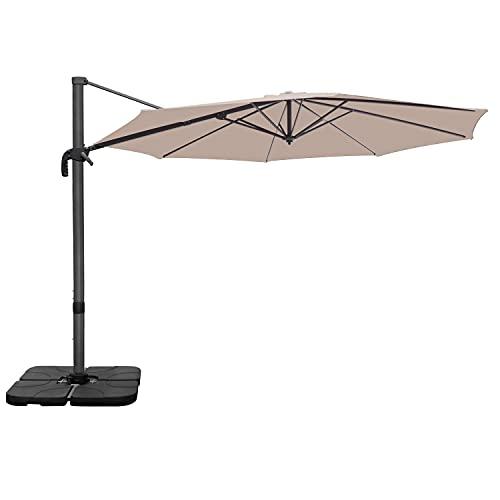 RANSENERS Ampelschirme Sonnenschirm Gartenschirm, 300cm Ø, Gestell Aluminium/Stahl, Bespannung Polyester mit UV Schutz 80+, 360° Drehbar, 4 Stufen einstellbar