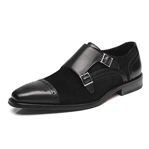 La Milano Mens Leather and Suede Double Monk Strap Loafer Dress Shoes