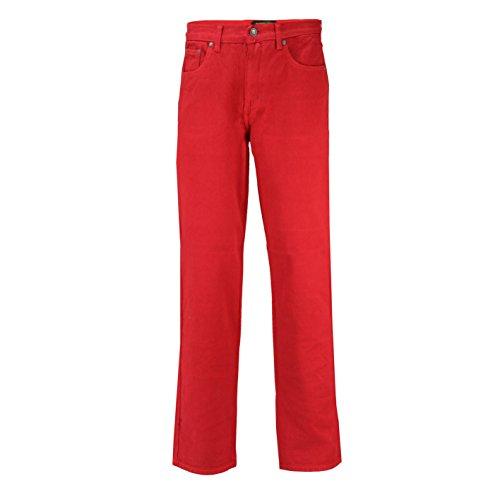 Georgio Peviani - Jeans da uomo, vestibilità comoda, 5 tasche Rosso 40W x 33L