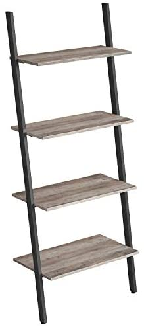 VASAGLE Ladder Shelf, Wall Rack Shelf and Storage Shelving Unit, 4-Tier Bookshelf, Living Room Kitchen Office, Steel, Stable, Slanted, Industrial, Rustic Browne and Black LLS43BX