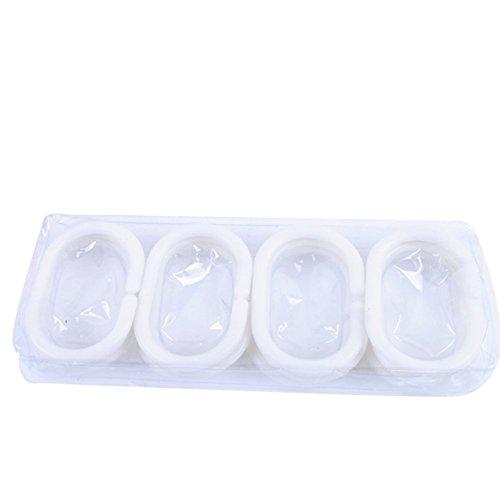 Dylandy 12 x Duschvorhangringe, Kunststoff, C-förmig, zum Aufhängen, für Badezimmer, Dusche, Weiß
