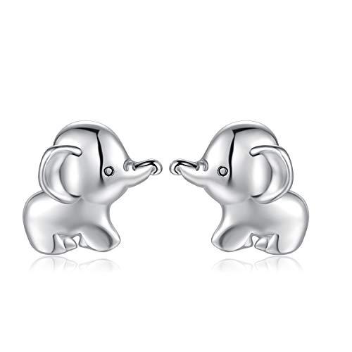 Qings Elefante Pendientes, Plata de Ley 925 Lindo Stud Pendientes Joyería Regalos para Mujeres niñas Hijas, Hipoalergénicas