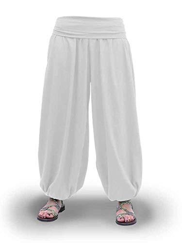 Savari Pantalones Bombachos Aladin Harem Yoga Comodos Anchos Holgados Unisex Negro Blanco Marino Gris (Blanco, S)