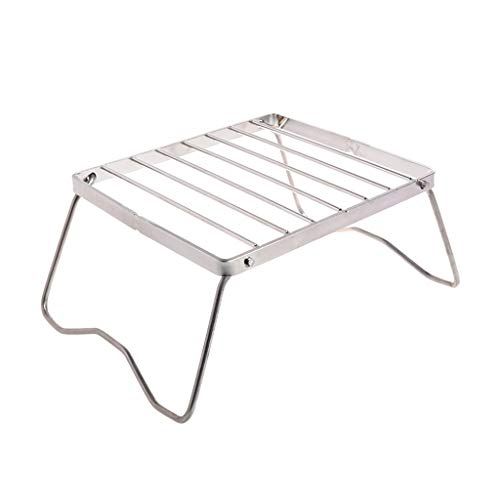 cdhgsh Hot Folding Camping Grill Mini Holzkohle BBQ tragbare Picknick Barbecue Herd Rack Folding Grill Silber