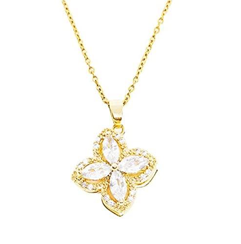 MENGHUA Nuevo Collar Giratorio de Flores de Cristal para Las Mujeres