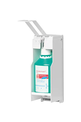 Durable 589302 Wandspender für Desinfektionsmittel oder Seife, mit langem Armhebel, flexible Anpassung an Flaschengrößen bis 500 ml, weiß