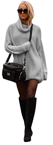 Mikos Damen Strickpullover Sweater Rollkragen Pullover Jumper Strick Pulli Oversize (648) (Grau)