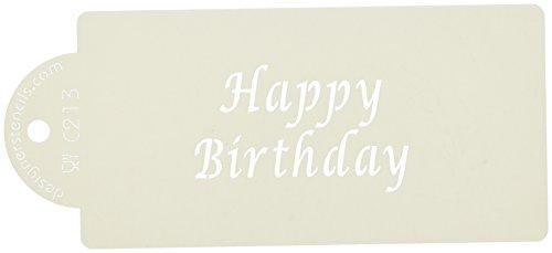 Designer Stencils Happy Birthday Business Card Cookie Stencil, Beige/semi-transparent