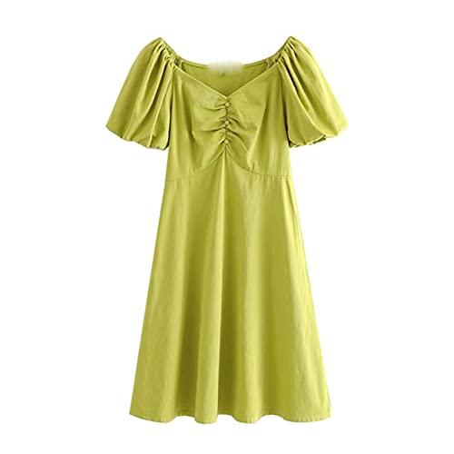 Women 2021 Chic Fashion Puff Sleeves Pleated Mini Dress Vintage V Neck Side Zipper Female Dresses