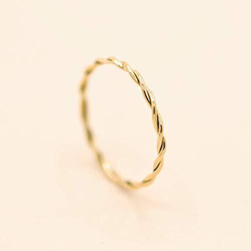 Minimalist Goldring für Frauen. Goldring Damen. Geflochtener Goldring, Goldschmuck für Frauen | Stapelring, Bandring, Damen Stapelring, Spiralring