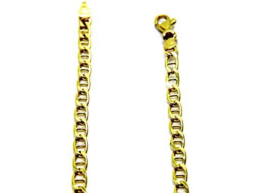 Collar de hombre de oro amarillo de 18 quilates (750), cadena de eslabones de 50 cm, cadena clásica