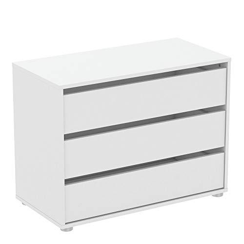 habeig Kommode BLANK weiß Flurschrank Schrank Wäscheschrank Schlafzimmer modern groß Sideboard (#742-80x40x58cm)