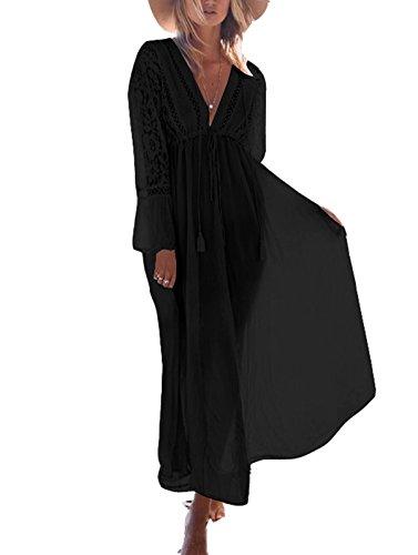 Asskdan Damen Spitze Strandkleid Lang V-Ausschnitte Langarm Hohe Taille Sommerkleid Mit Gürtel (Schwarz, One Size)