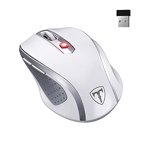 Ergo Wireless Mouse for Laptop,2.4G Mouse Ergonomic Computer Mouse with Finger Rest, 5 Adjustable DPI Levels,USB Receiver,2400DPI USB Mouse for Laptop PC Chromebook Notebook MacBook Computer,White