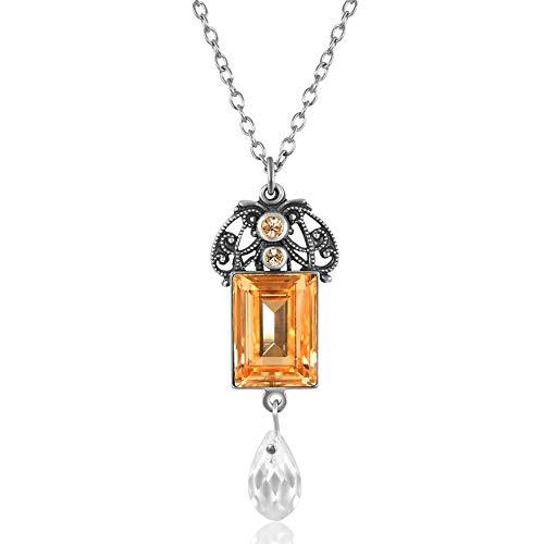 nobel-schmuck Jugendstil Kette mit Kristallen von Swarovski® Pfirsich Silber