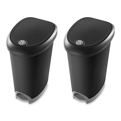 Sterilite 12.6 Gallon Locking Lid Step On Kitchen Wastebasket Trashcan (2 Pack)