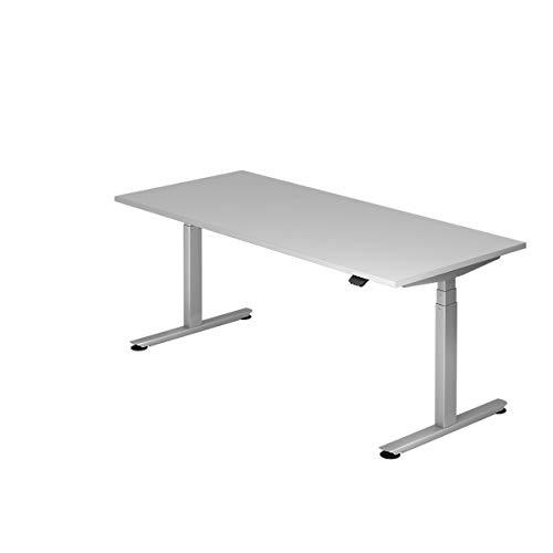 Hammerbacher Schreibtisch, elektrisch höhenverstellbar, Breite 1800 mm, Tischplatte Lichtgrau | VXDLB19/5/S - Schreibtische höhenverstellbar desks height adjustable