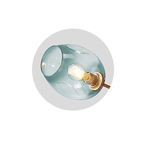 Lámpara colgante Cristal Luz pendiente moderna originalidad dormitorio lámpara colgante Simplicidad Personalidad restaurante accesorios de iluminación Candelabro ( Body Color : Azul , Size : Bulb )