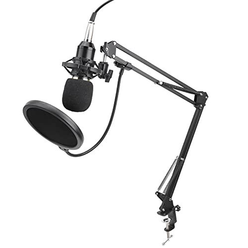 Paquete de micrófono con cable, kit de micrófono BM 800 con tarjeta de sonido en vivo, soporte de brazo de suspensión de micrófono ajustable, cubierta a prueba de viento para podcast, juego, video de