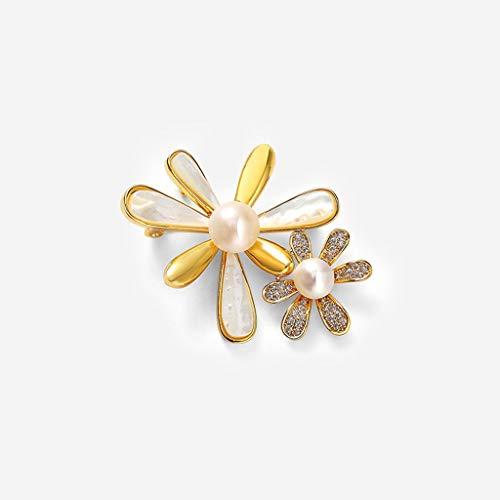 hongbanlemp Broches Broche Flor del Sol Mujer de Gama Alta Temperamento Perla Pin Anti-iluminación Escote Flor Ramillete de Lujo de la Bufanda Hebilla Mujer Broche