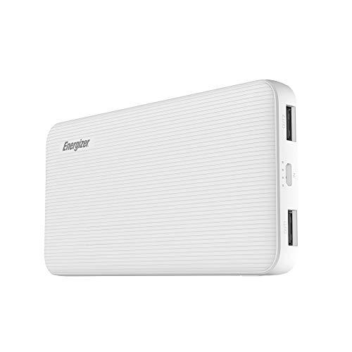 Energizer MAX UE10034 Ladegerät, hohe Kapazität, 10.000 mAh, Lithium-Polymer, 2 USB-A-Ports, Universal-Powerbank für iPhone, Samsung Galaxy und mehr, weiß