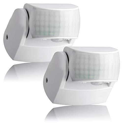 SEBSON 2x Rilevatore di Movimento Esterno IP44, Montaggio a Parete, LED adatto, programmabile, 12m / 180° - 3m / 360° Infrarossi Sensore con 2 sensori