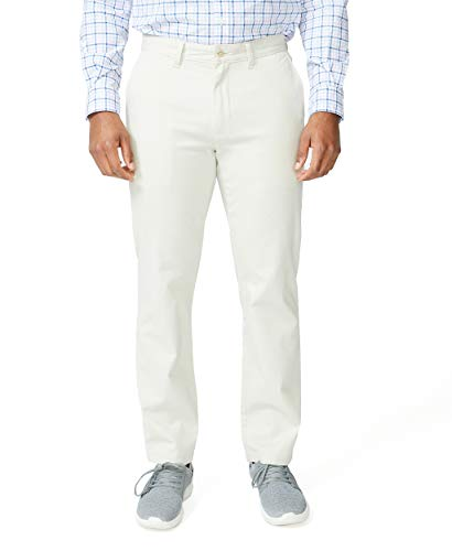 Nautica Men's Classic Fit Flat Front Stretch Solid Chino Deck Pant, Stone, 42W 30L
