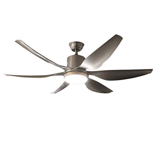 LampforLess Air Light III, 6 Flügel Ventilator als Deckenlampe in Grau-Silber, leise, Wintermodus, Geschwindigkeitsstufen und Farbtemperatur Warmweiß bis Kaltweiß mit Fernbedienung einstellbar