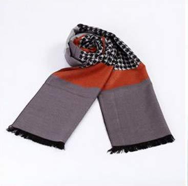 MINMINA Schal der Männer Herbst und Winter Schal der Männer gebürsteter Warmer Schal Art- und Weiseplaidschal, orange Hahnentrittmuster