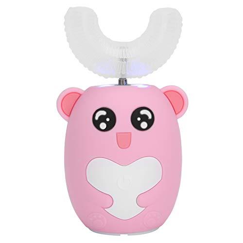 Cepillo de dientes eléctrico automático para niños de 2 a 12 años, cepillo de dientes automático en forma de U con modo de 3 engranajes, limpieza con temporizador de 60 segundos