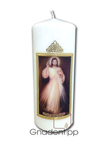 Gnadentipp geweihte Kerze - Jesus ich Vertraue auf Dich, Größe 6,5 x 15 cm