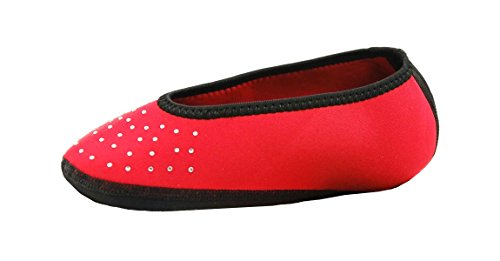 NuFoot Sparkle Ballet Flats Women's Shoes, Best Foldable & Flexible Flats, Slipper Socks, Travel Slippers & Exercise Shoes, Dance Shoes, Yoga Socks, House Shoes, Indoor Slippers, Red, Large
