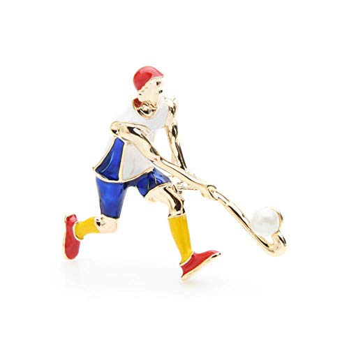 Emaille Sport Broschen für Frauen und Männer 2-Farben spielen Eishockey Sportler Casual Brosche Pins Geschenke, blau