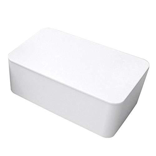 FEIYI Dispensador de toallitas húmedas, caja de almacenamiento de pañuelos con tapa a prueba de polvo para oficina en casa (color: blanco)