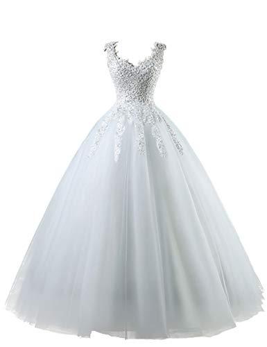 HUINI Brautkleid Lang Prinzessin Tüll Hochzeitskleid Standesamt Vintage Brautmode A-Linie Ballkleid mit Perlen Weiß 54