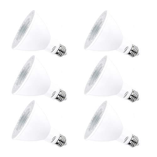Par30 Led Light Bulbs 5000k Natural Daylight Dimmable, E26 Led Bulb Base 12w (120watt Equivalent) Recessed Lighting, Outdoor Led Flood Light Bulbs Indoor, Energy Saving Light Bulbs Efficient (6 Pack)