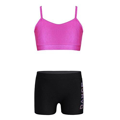 inhzoy Maillot de Danza Gimnasia Rítmica para Niña Conjunto Deportivo Crop Top + Pantalones Cortos Traje de Baile Yoga Fitness Traje de Baño Verano Rosa Rojo 12Años