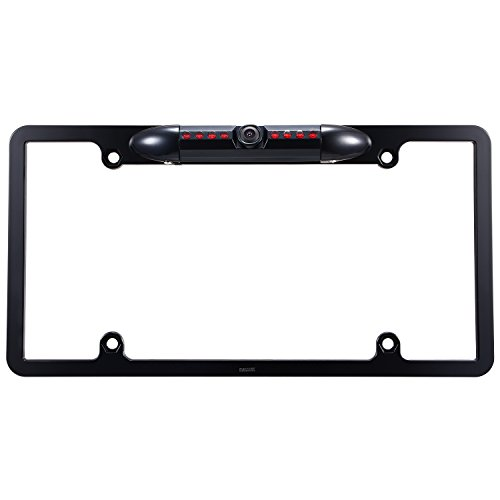 Car License Plate Frame Rearview Backup Camera, Reverse Camera with Night Vision HD Waterproof 170 Degree Wide Viewing Angle Parking Aid System