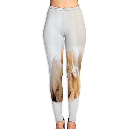 Pantalones de Yoga para Mujer,Gato Perro Durmiendo Juntos Gatito Cachorro,Pantalones de Entrenamiento de Cintura Alta Medias elásticas de Yoga Impresas XL
