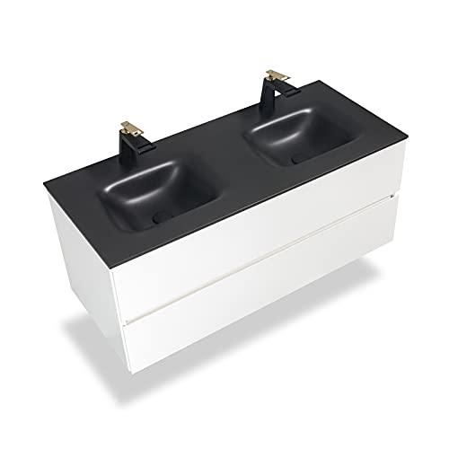 GOOM Mueble de baño, lavabo con mueble bajo lavabo y mueble bajo Medidas: 860 y 1210 mm. También disponible como lavabo doble con armario inferior. Lavabo en color negro mate con piedra de cuarzo.