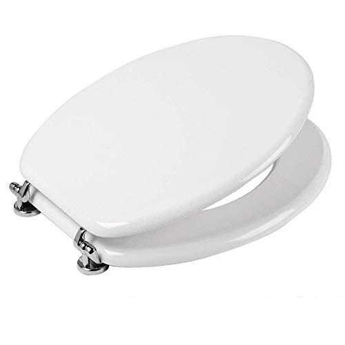 Sedile Wc Copri Water Tavoletta Vaso Universale Bianco MDF Legno Pesante Cerniere Metallo Bagno