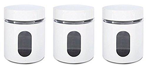 Priority Chef, barattoli per tè, caffè, zucchero, set di 3 barattoli di vetro in metallo Overlay, chiusura ermetica, soluzione ideale per la conservazione White