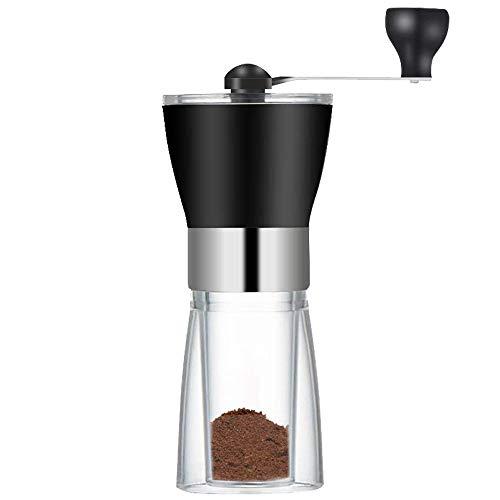 Młynek do ziaren kawy, przezroczysty ręczny ekspres do kawy, młynek do kawy ze stali nierdzewnej, regulowany drobność, ceramiczna głowica szlifierska, do domu, biura, wygodne warzenie kawy (czarny)